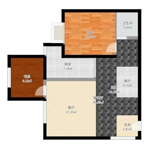 蔚蓝印象2室2厅1卫1厨91.00㎡户型图