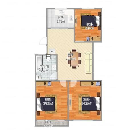 芳华路188弄小区3室1厅1卫1厨98.00㎡户型图