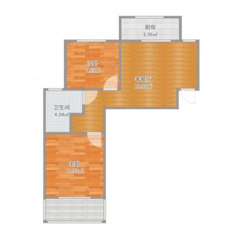 浦江瑞和城四期A块2室2厅1卫1厨62.00㎡户型图
