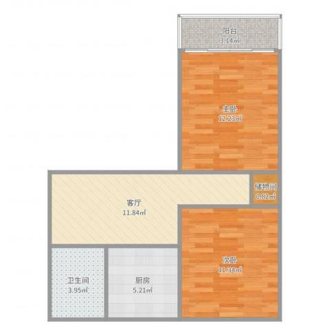 风雷新村2室1厅1卫1厨61.00㎡户型图