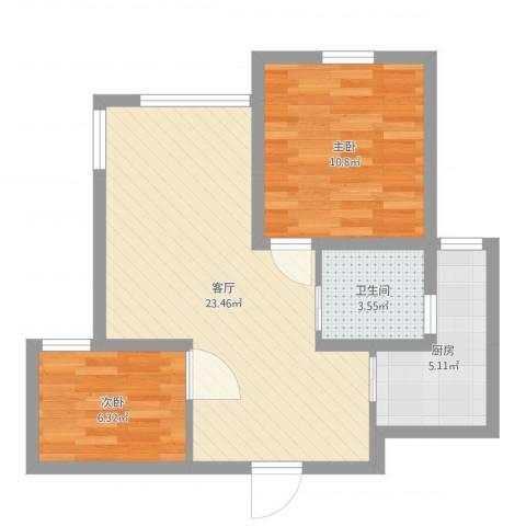 浦江瑞和城2室1厅1卫1厨62.00㎡户型图