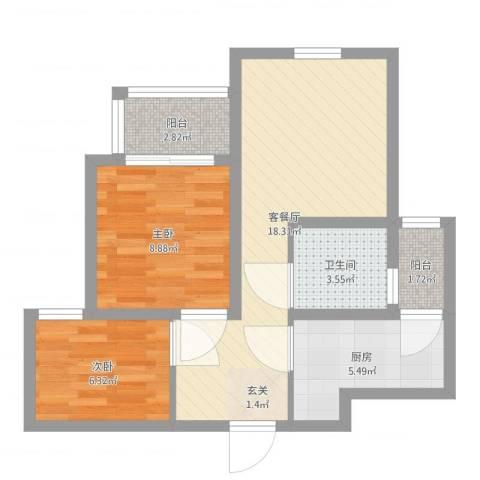 浦江瑞和城2室2厅1卫1厨59.00㎡户型图