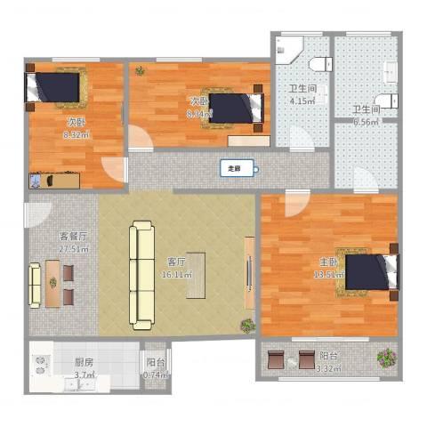 风雅园三区3室2厅2卫1厨115.00㎡户型图