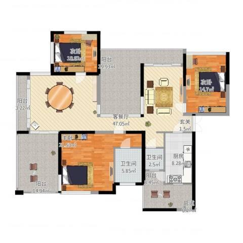 观山湖1号3室2厅2卫1厨222.00㎡户型图