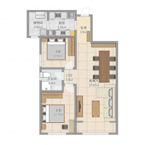 曲江千林郡2室2厅1卫1厨90.00㎡户型图
