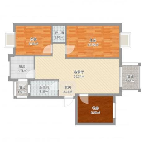 江南春晓3室2厅2卫1厨95.00㎡户型图