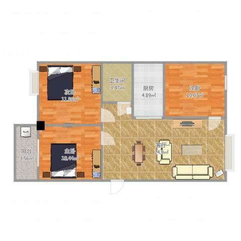 百盛国际名都3室1厅1卫1厨86.00㎡户型图