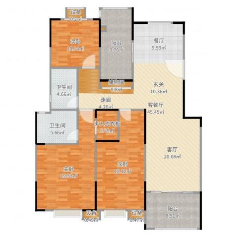 蓝湖西岸3室2厅4卫1厨159.00㎡户型图