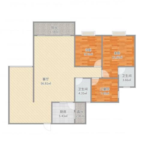 和诚家园3室1厅2卫1厨137.00㎡户型图