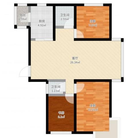 东田青年城3室1厅2卫1厨77.00㎡户型图