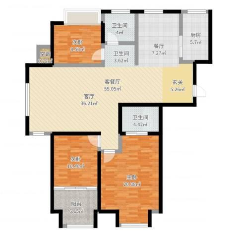 中茵龙湖国际3室2厅2卫1厨144.00㎡户型图