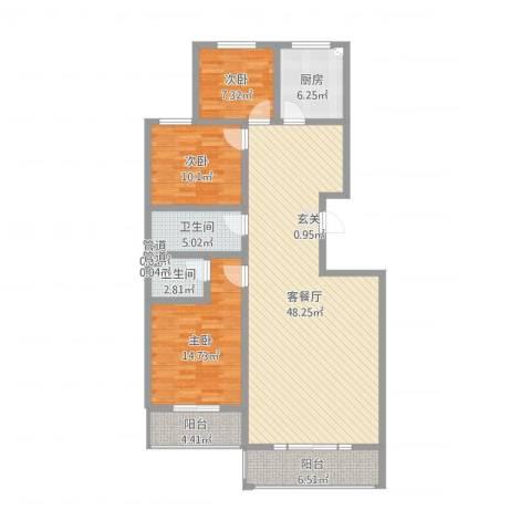 晟景・佰汇3室2厅2卫1厨132.00㎡户型图