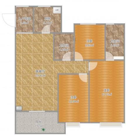 海亮天城1123室2厅2卫1厨119.00㎡户型图