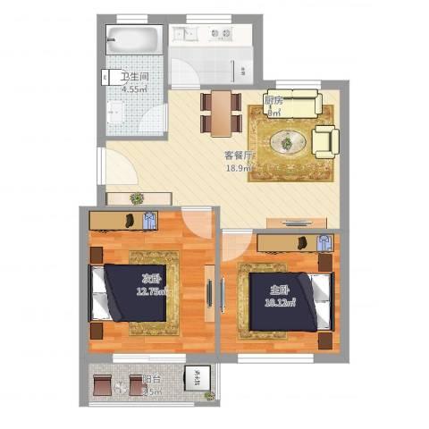 胜丰小区2室2厅1卫1厨75.00㎡户型图