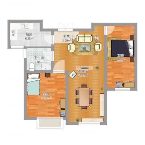 中汇城・御园2室2厅1卫1厨79.00㎡户型图
