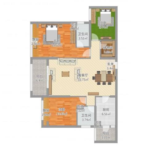 红河云岭・盛世佳园3室2厅2卫1厨145.00㎡户型图