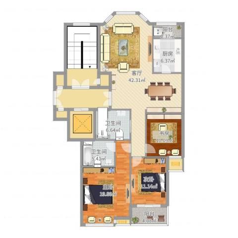 盛世华城3室1厅2卫1厨170.00㎡户型图