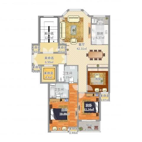 盛世华城3室1厅2卫1厨192.00㎡户型图