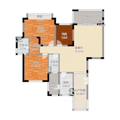 仁恒星园3室2厅2卫1厨146.00㎡户型图