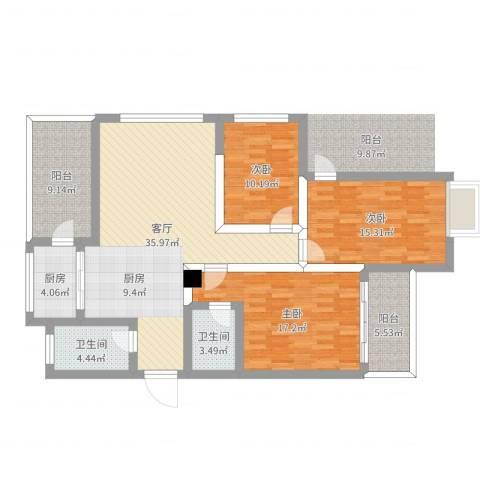 锦绣家园18楼3室1厅2卫1厨132.00㎡户型图