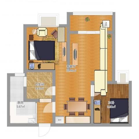 大众春盛苑1室2厅1卫1厨59.26㎡户型图