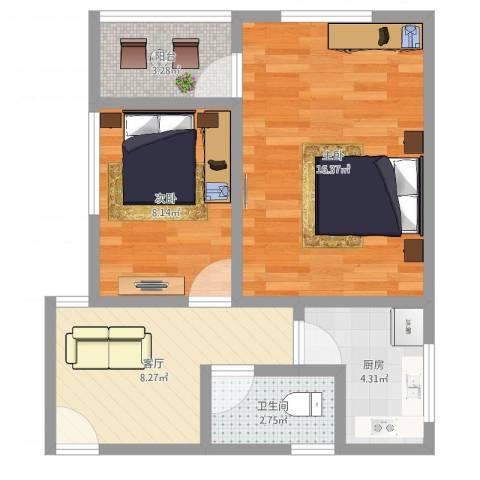鹤北一街坊2室1厅1卫1厨54.00㎡户型图