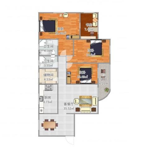 加州花园4室2厅2卫1厨147.00㎡户型图