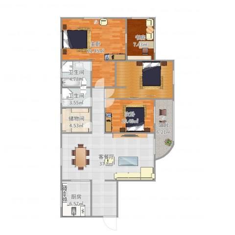 加州花园3室2厅2卫1厨156.00㎡户型图