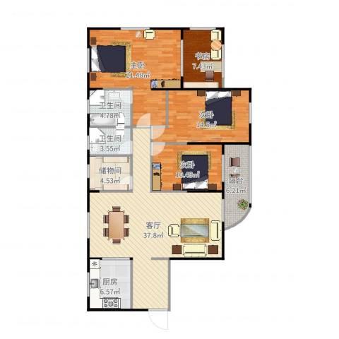 加州花园4室1厅2卫1厨147.00㎡户型图
