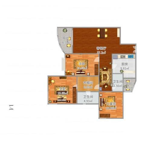 仁恒滨江园3室2厅2卫1厨142.00㎡户型图