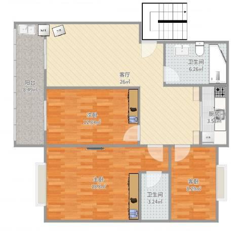 阳海景怡3室1厅2卫1厨109.00㎡户型图