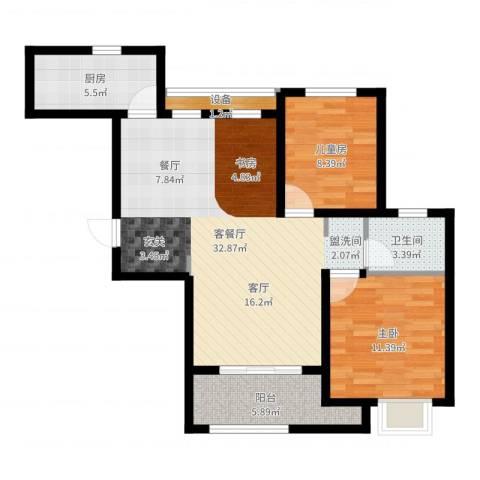 阿卡迪亚2室2厅1卫1厨86.00㎡户型图