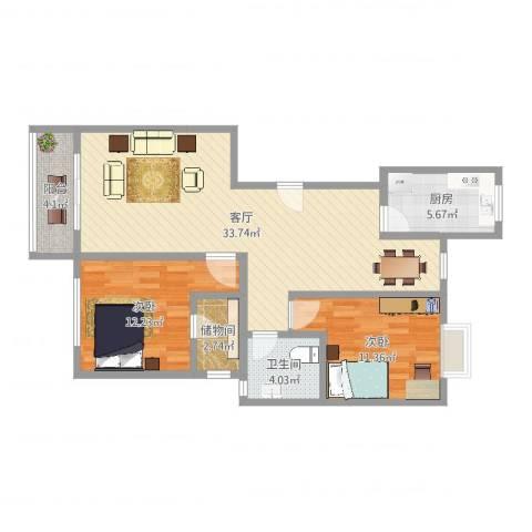 南方城2室1厅1卫1厨92.00㎡户型图