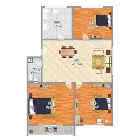 淞滨路765弄小区3室1厅1卫1厨181.00㎡户型图