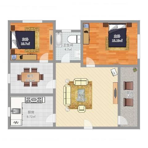 浦江世博家园十街坊2室2厅1卫1厨100.00㎡户型图