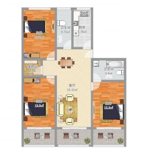 绿华新苑3室1厅2卫1厨119.00㎡户型图