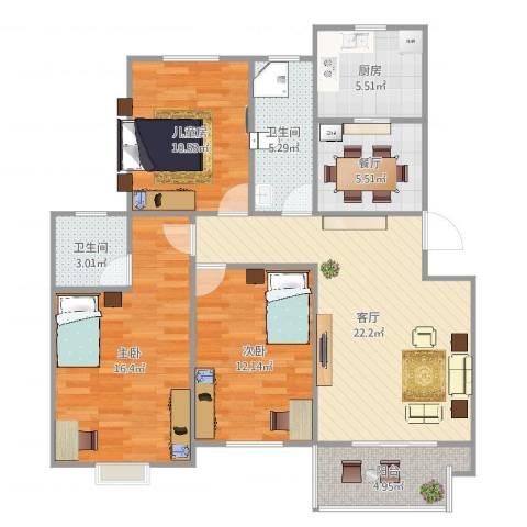 运河人家3室2厅2卫1厨107.00㎡户型图
