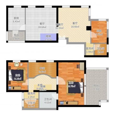 万科彩园3室2厅3卫1厨143.00㎡户型图