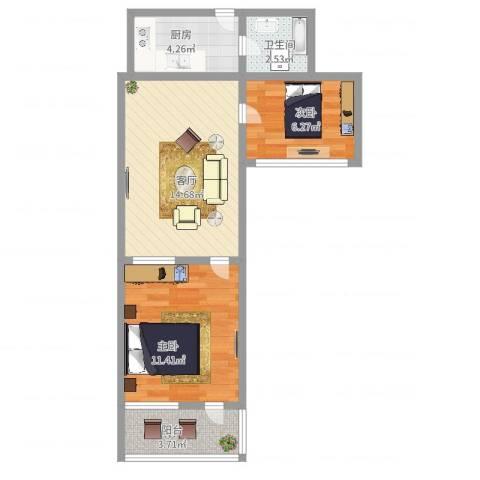 昌五小区2室1厅1卫1厨54.00㎡户型图
