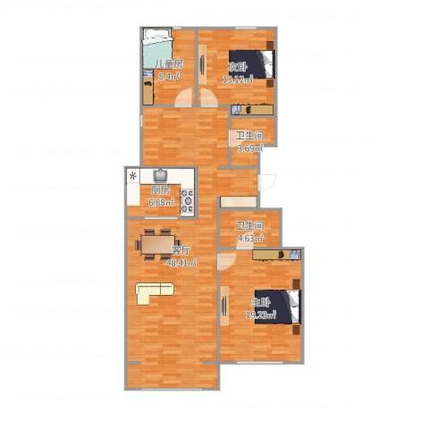 万科新里程3室1厅2卫1厨130.00㎡户型图