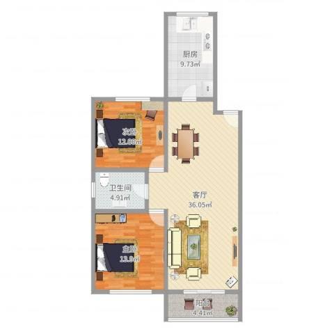 景华世纪园2室1厅1卫1厨101.00㎡户型图