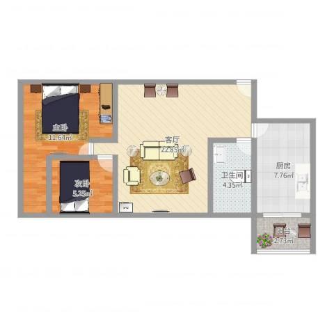 南景苑2室1厅1卫1厨68.00㎡户型图