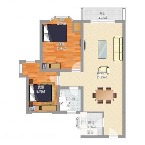 凯宏苑2室2厅1卫1厨82.00㎡户型图