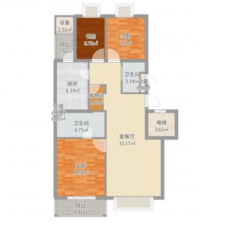 山水文园一期3室4厅4卫2厨123.00㎡户型图