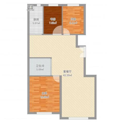 万晟幸福里3室2厅2卫1厨104.00㎡户型图