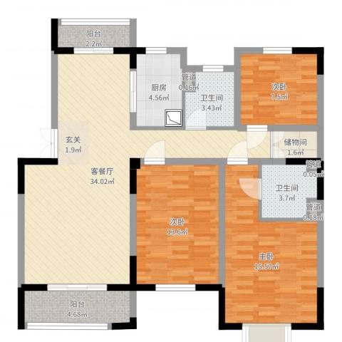 世纪城・江南3室2厅2卫1厨114.00㎡户型图