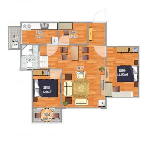 银湖山庄五期3室1厅1卫1厨79.00㎡户型图
