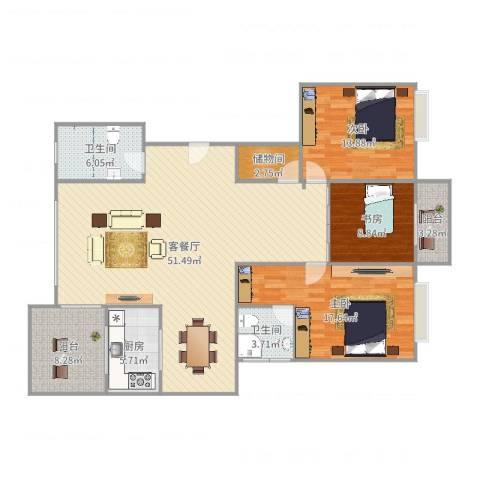 浪琴海3室2厅2卫1厨152.00㎡户型图