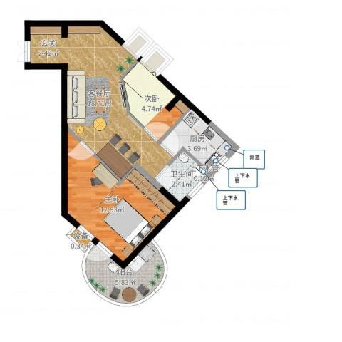 璧山金科中央公园城2室2厅2卫1厨61.00㎡户型图