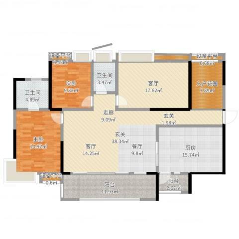 越秀星汇云锦2室1厅2卫1厨164.00㎡户型图